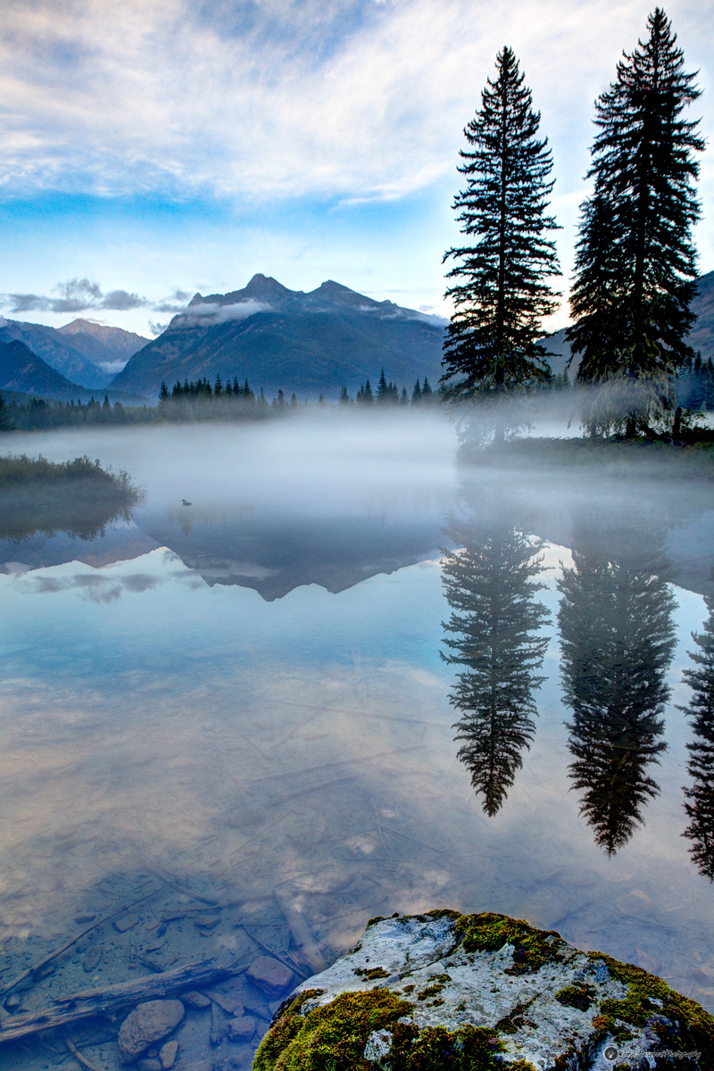 Foggy Pond with Ibex Peak near Bull Lake, Montana